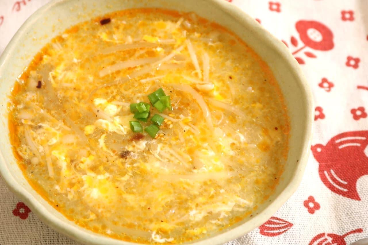 「キノコともやしの酸辣湯」のレシピ