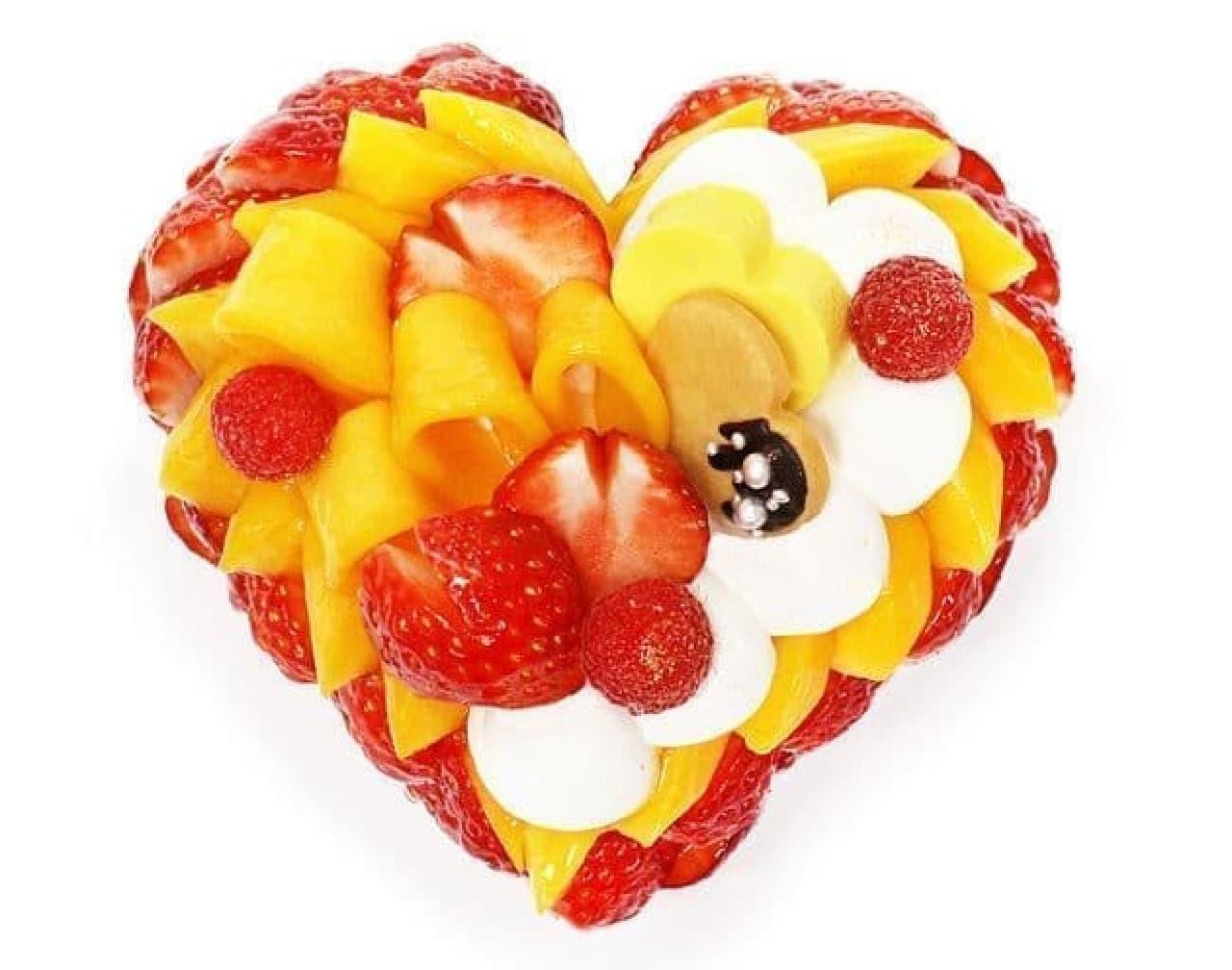 カフェコムサ『「恋みのり」いちごとマンゴーのケーキ』