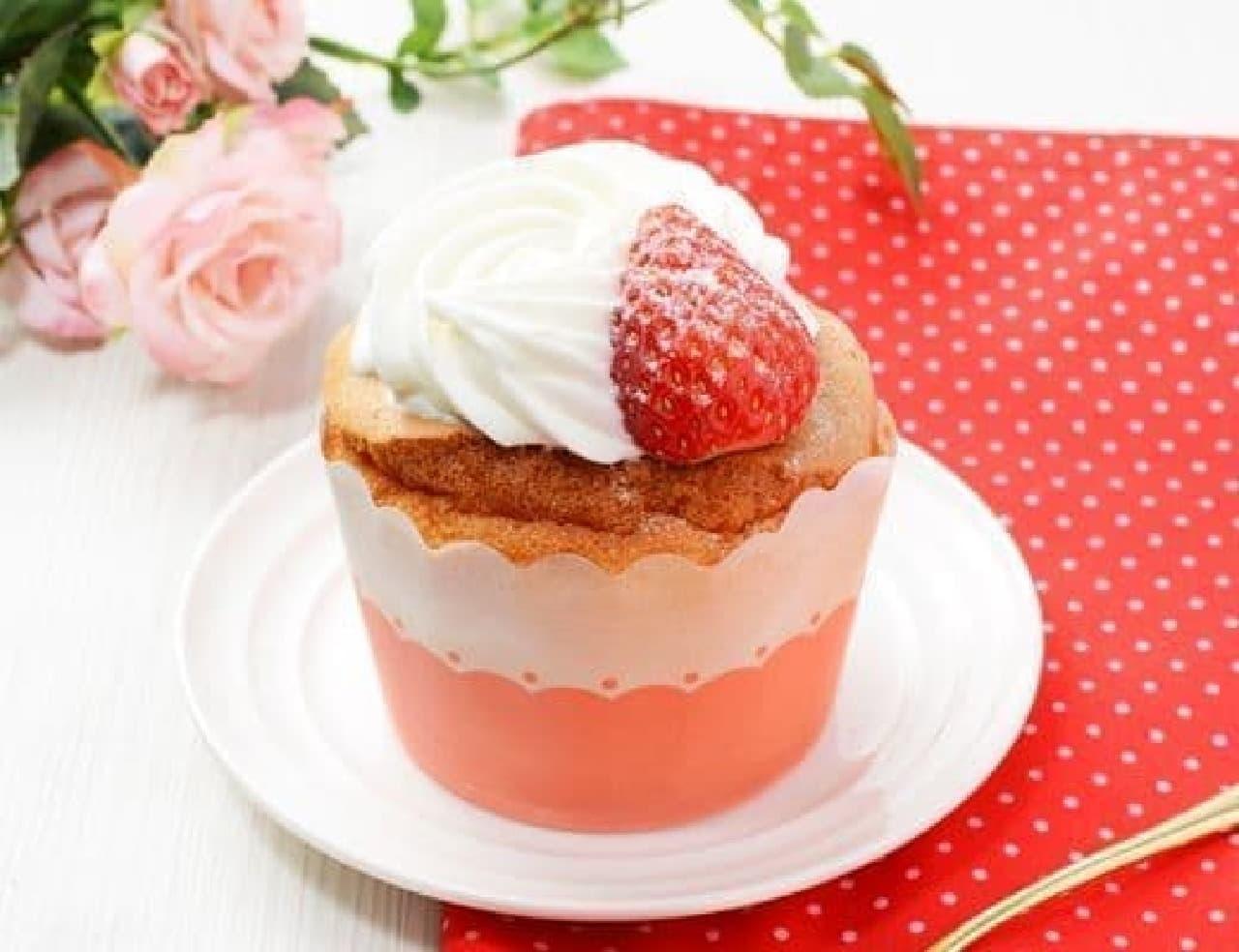 ローソン「フワフォン -ふわふわシフォンケーキ いちごのせ-」