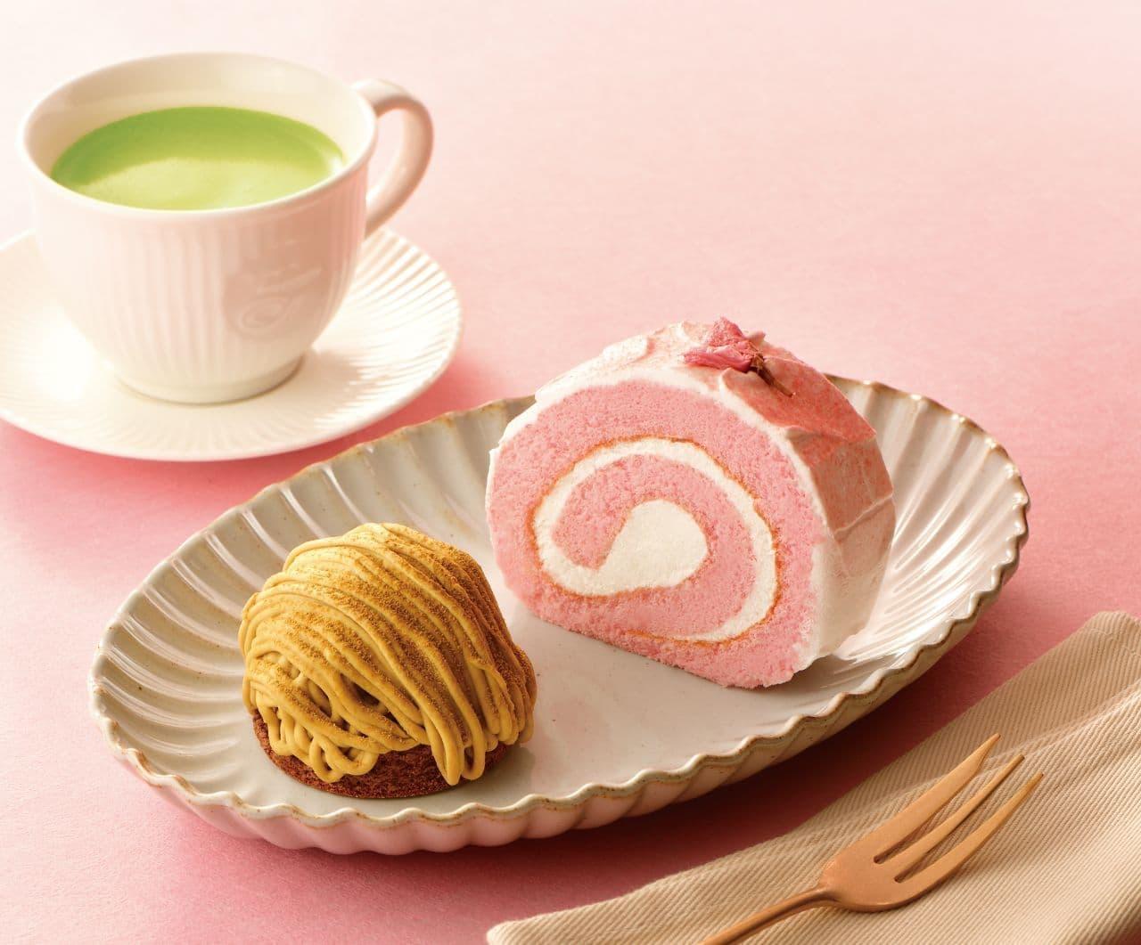 カフェ・ド・クリエ「桜のロールケーキ」「加賀棒ほうじ茶のモンブラン」