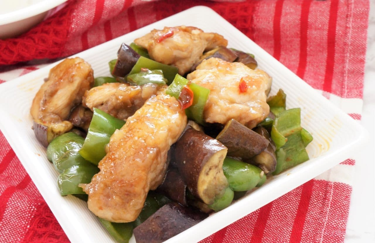 鶏なすピーマンのピリ辛炒め