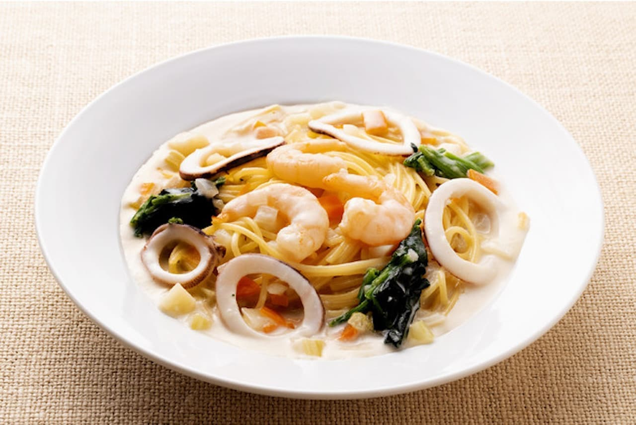 カプリチョーザ「魚介のクリームチャウダー風スパゲティ」
