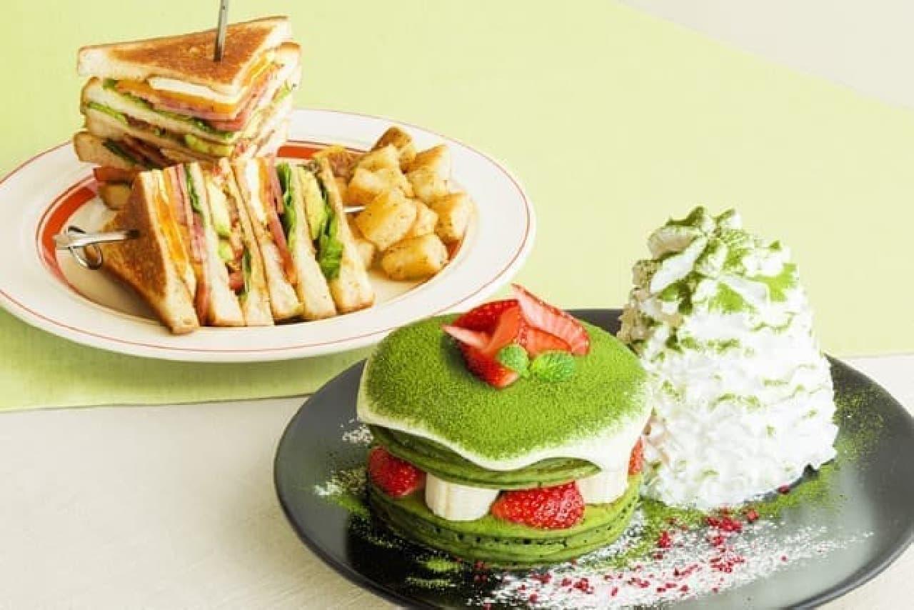 エッグスンシングス「宇治抹茶ティラミスパンケーキ」と「エッグスンクラブハウスサンド」