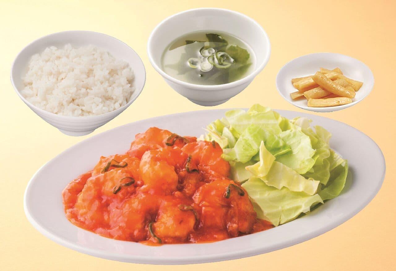 れんげ食堂Toshu・中華東秀「海老のチリソース定食」