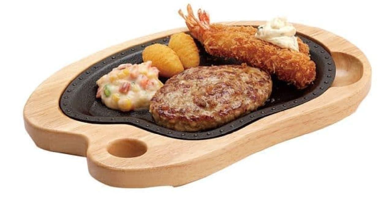 びっくりドンキー「エビフライ&ハンバーグステーキ 150g」