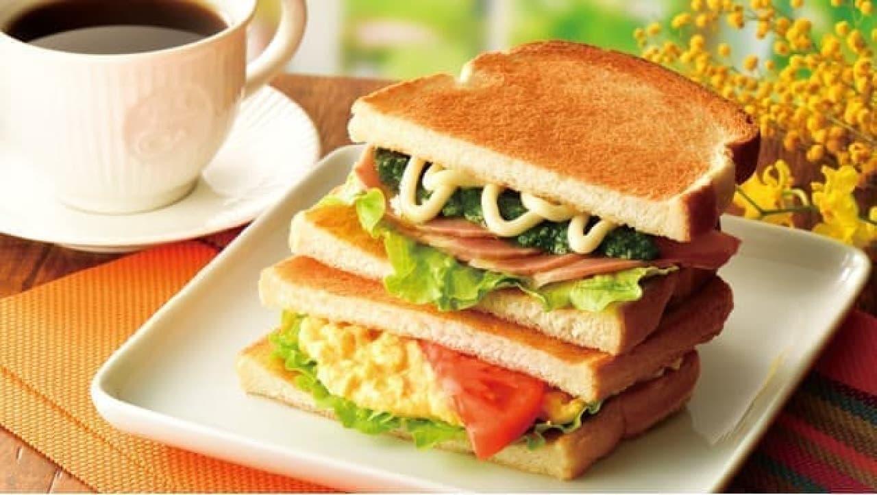 カフェ・ド・クリエ「2つのサンド 大葉香るローストポークとたまごサラダ」