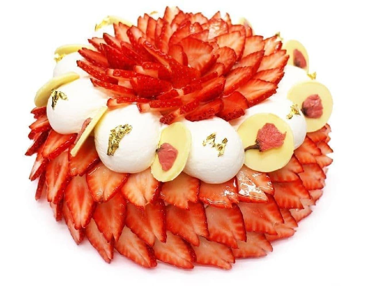 カフェコムサ「春爛漫 - いちごと桜のショートケーキ -」