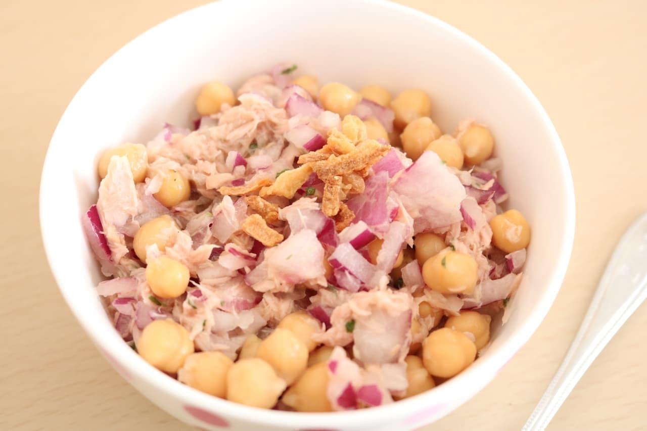 簡単レシピ「ひよこ豆のツナサラダ」