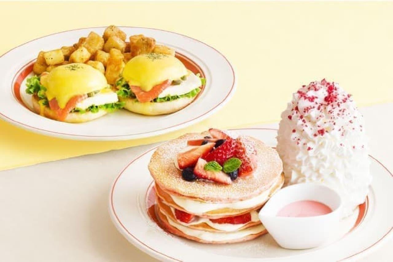 エッグスンシングス「ミルクのミルフィーユパンケーキ」「スモークサーモンとクリームチーズのエッグスベネディクト」