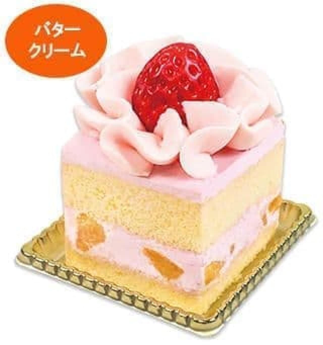 不二家洋菓子店「苺のフラワーバターケーキ」