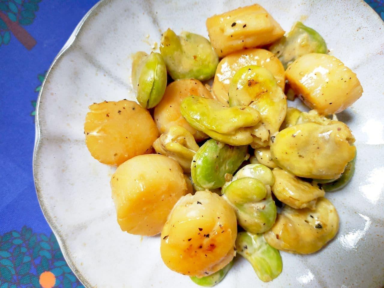 「ほたてとそら豆のマヨぽん」レシピ