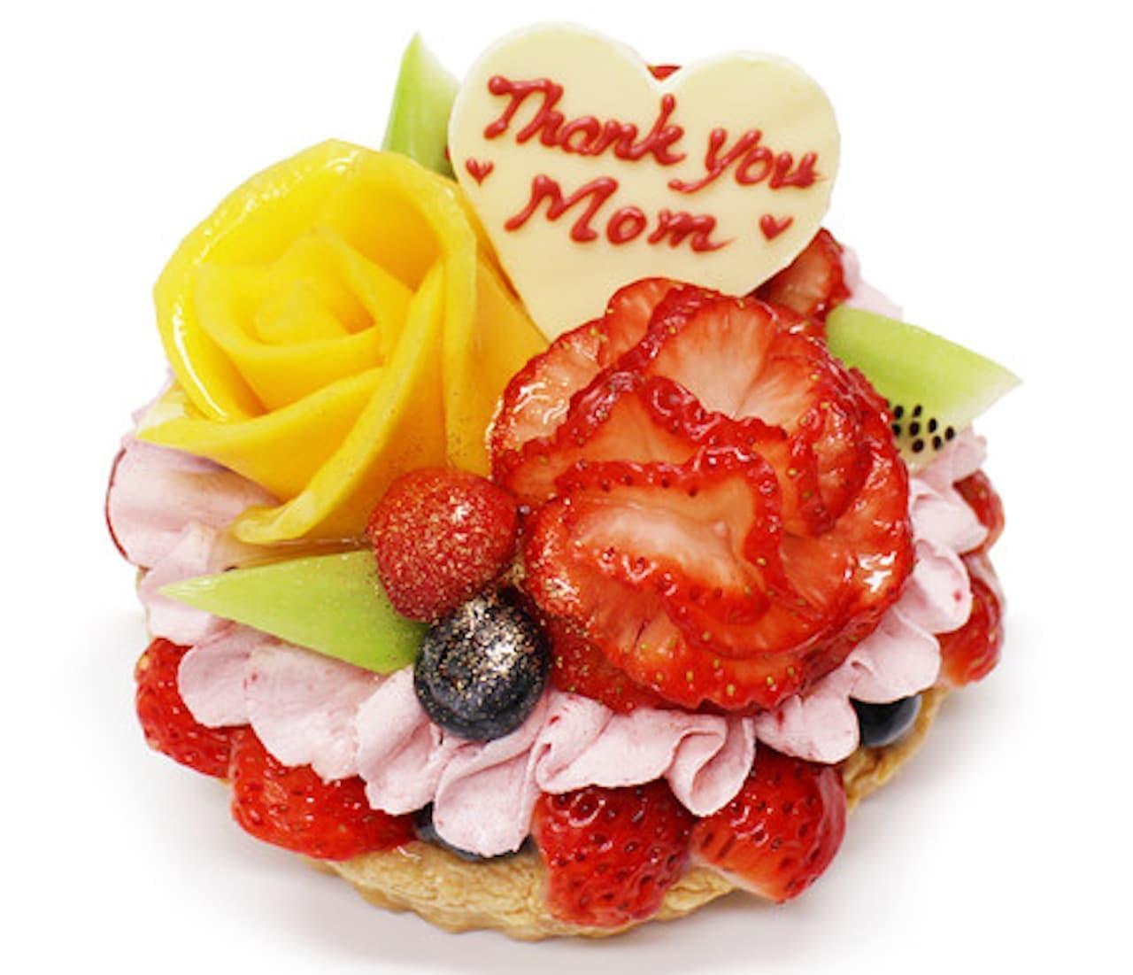 カフェコムサ「【予約限定】いちごカーネーションとマンゴーの花束のケーキ」