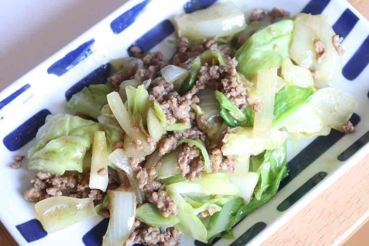ひき肉&キャベツ甘辛カレー炒め
