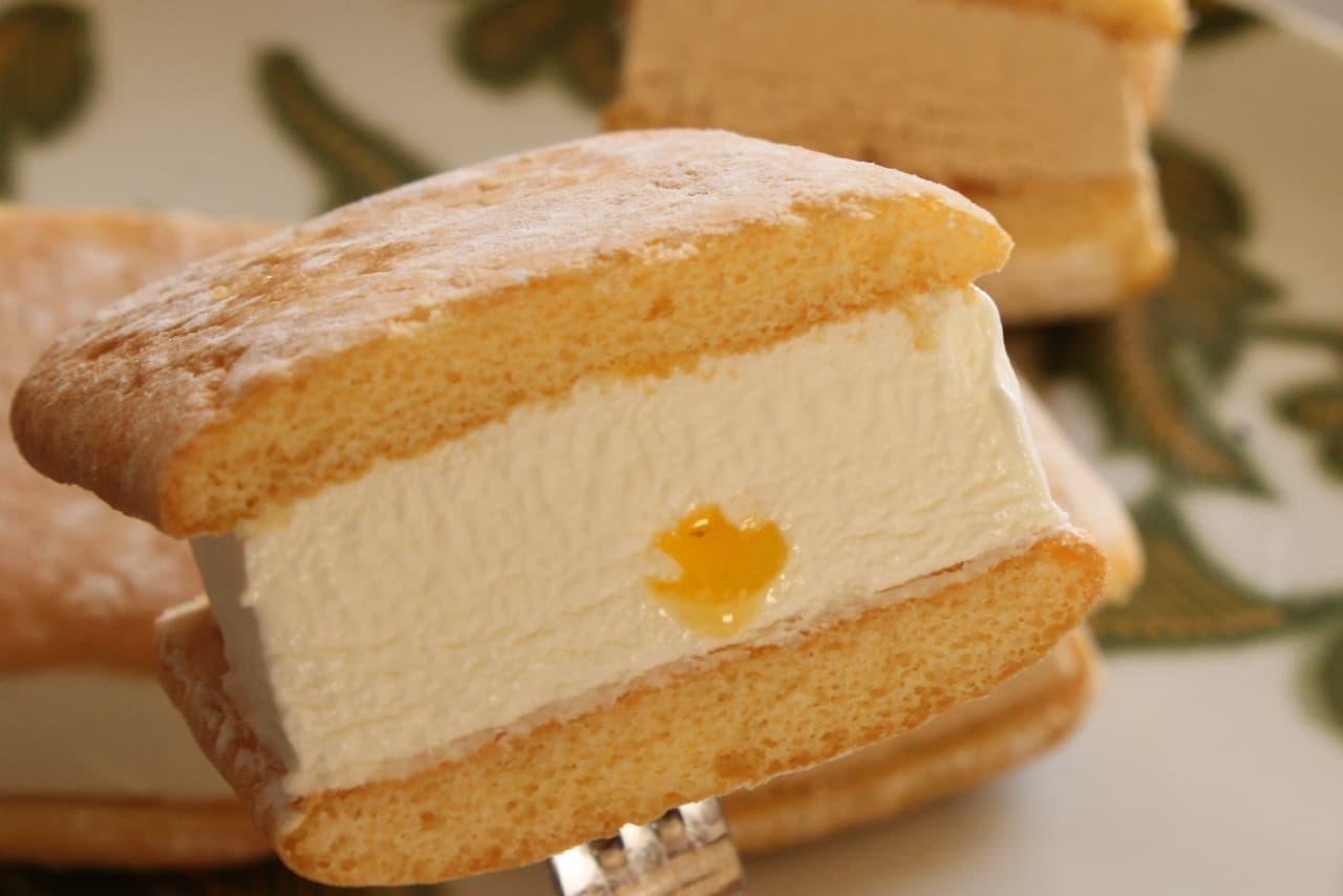 ファミマ「森永 ふわふわケーキサンド レアチーズケーキ」「森永 ふわふわケーキサンド ミルクキャラメル」