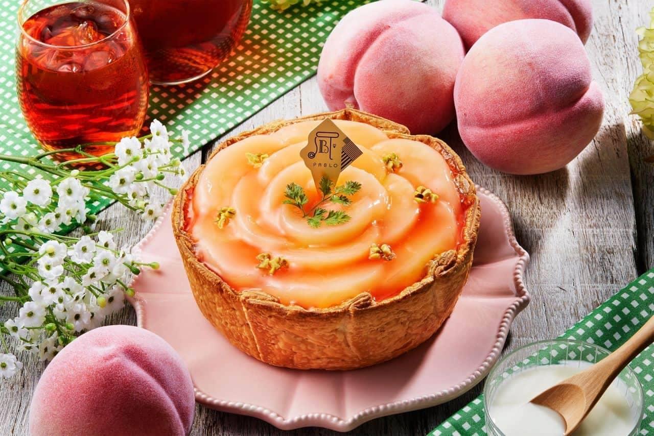 """Freshly baked cheese tart specialty store PABLO """"white peach and yogurt cheese tart"""""""