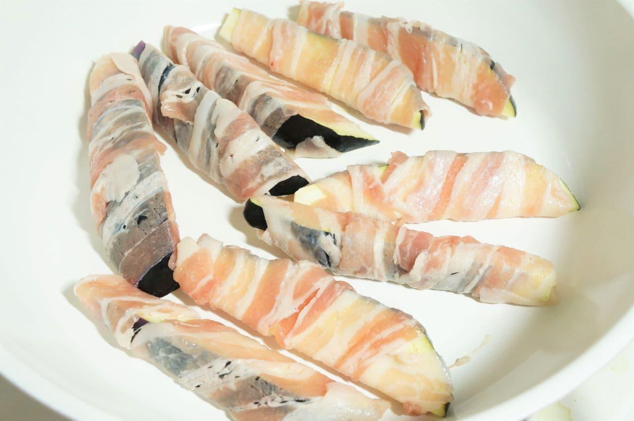 簡単レシピ「なすの豚肉巻き」