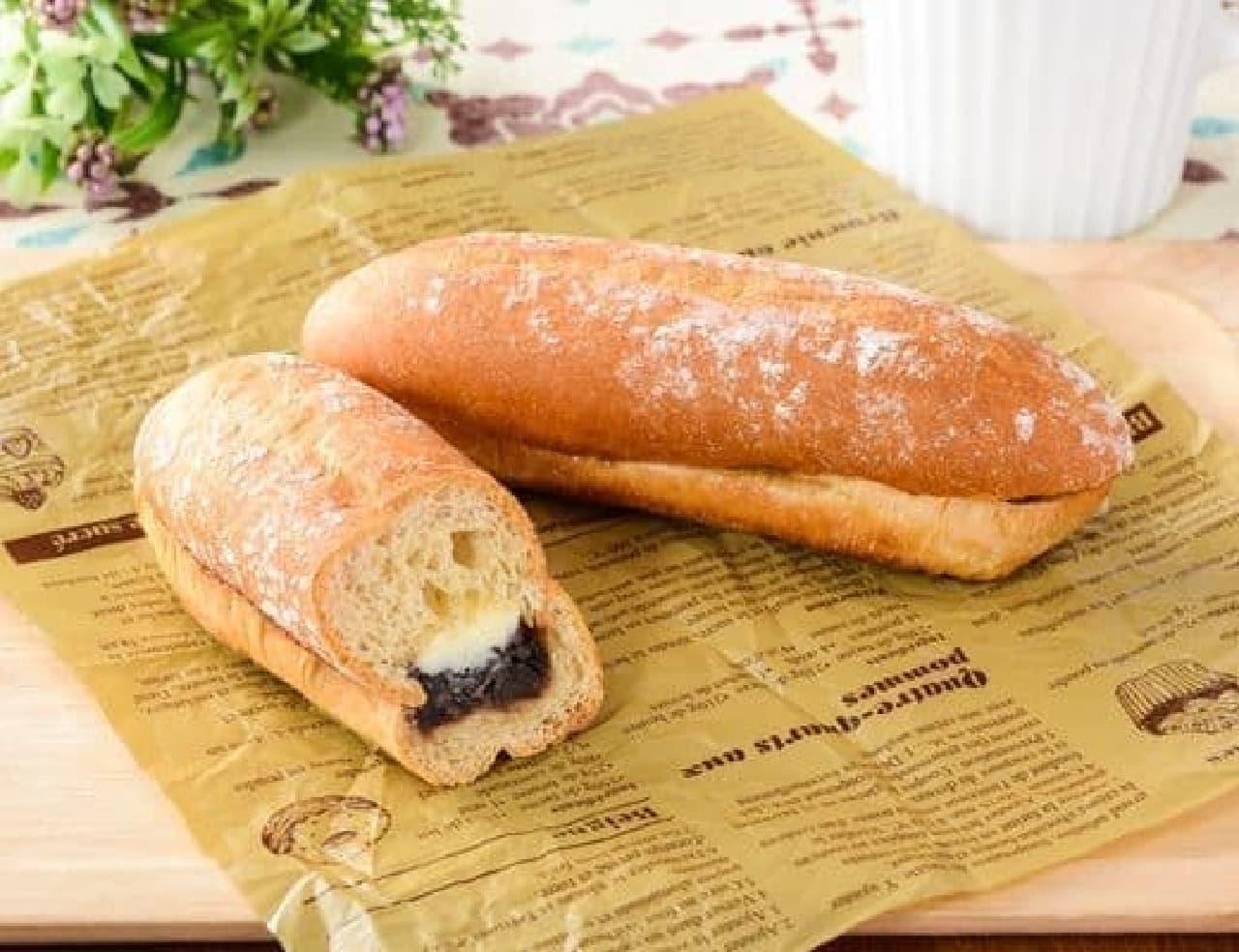 ローソン「NL もち麦のあんフランスパン発酵バター入りマーガリン使用」