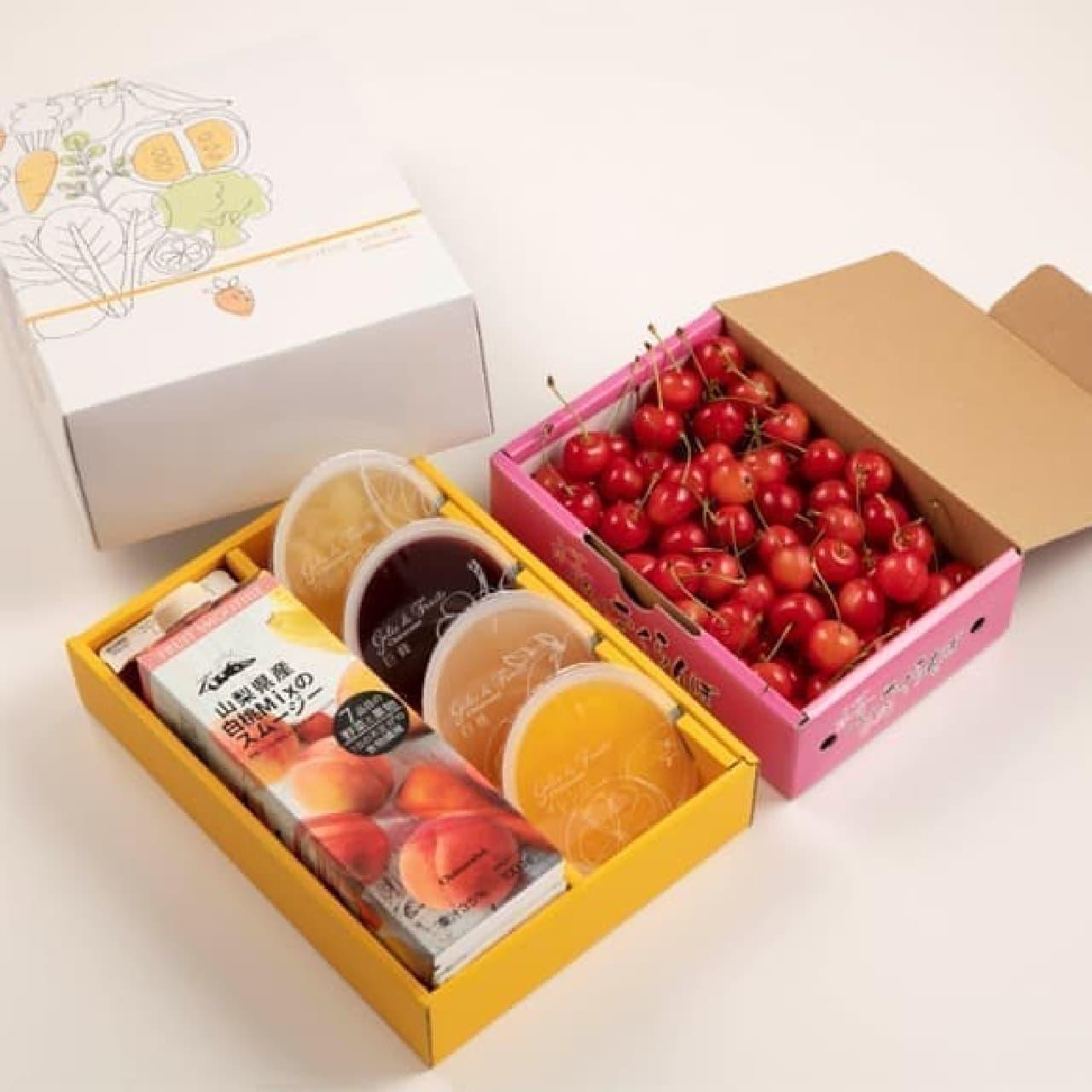シャトレーゼ「山梨県産さくらんぼと白桃のスムージー、フルーツのジュレ詰合せ」