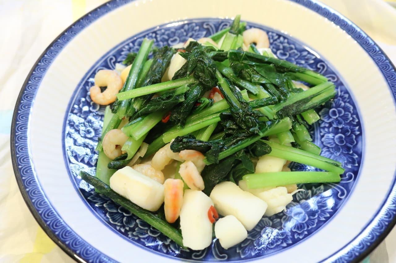 レシピ「小松菜とシーフードのペペロン風」