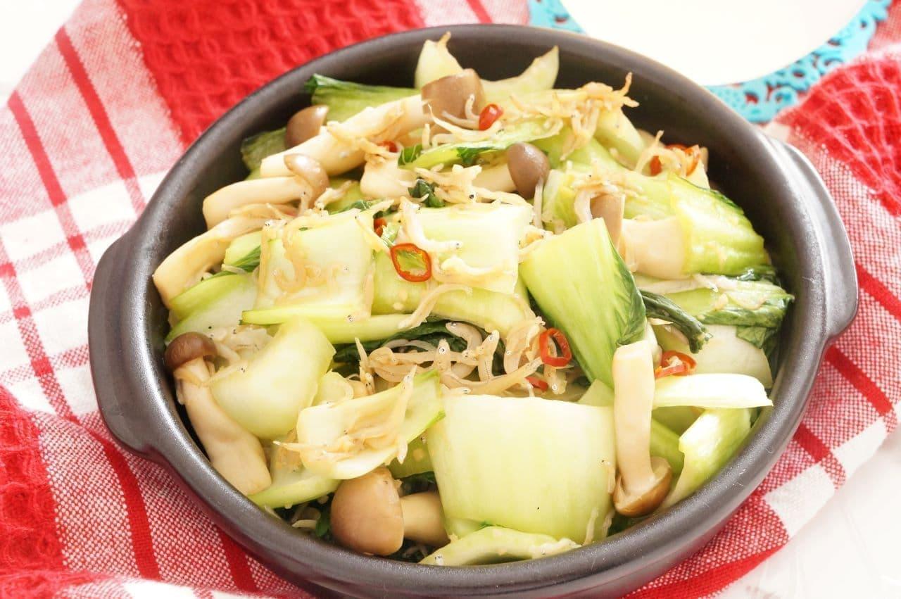 しらすチンゲン菜のにんにく炒め