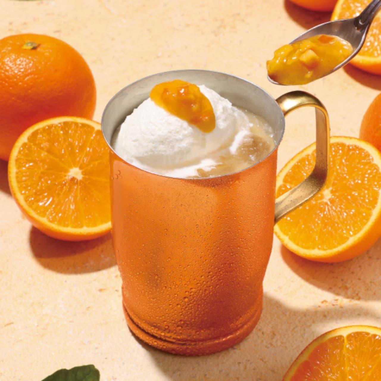 上島珈琲店「オレンジミルク珈琲」「フレッシュミントのバナナスムージー」季節限定
