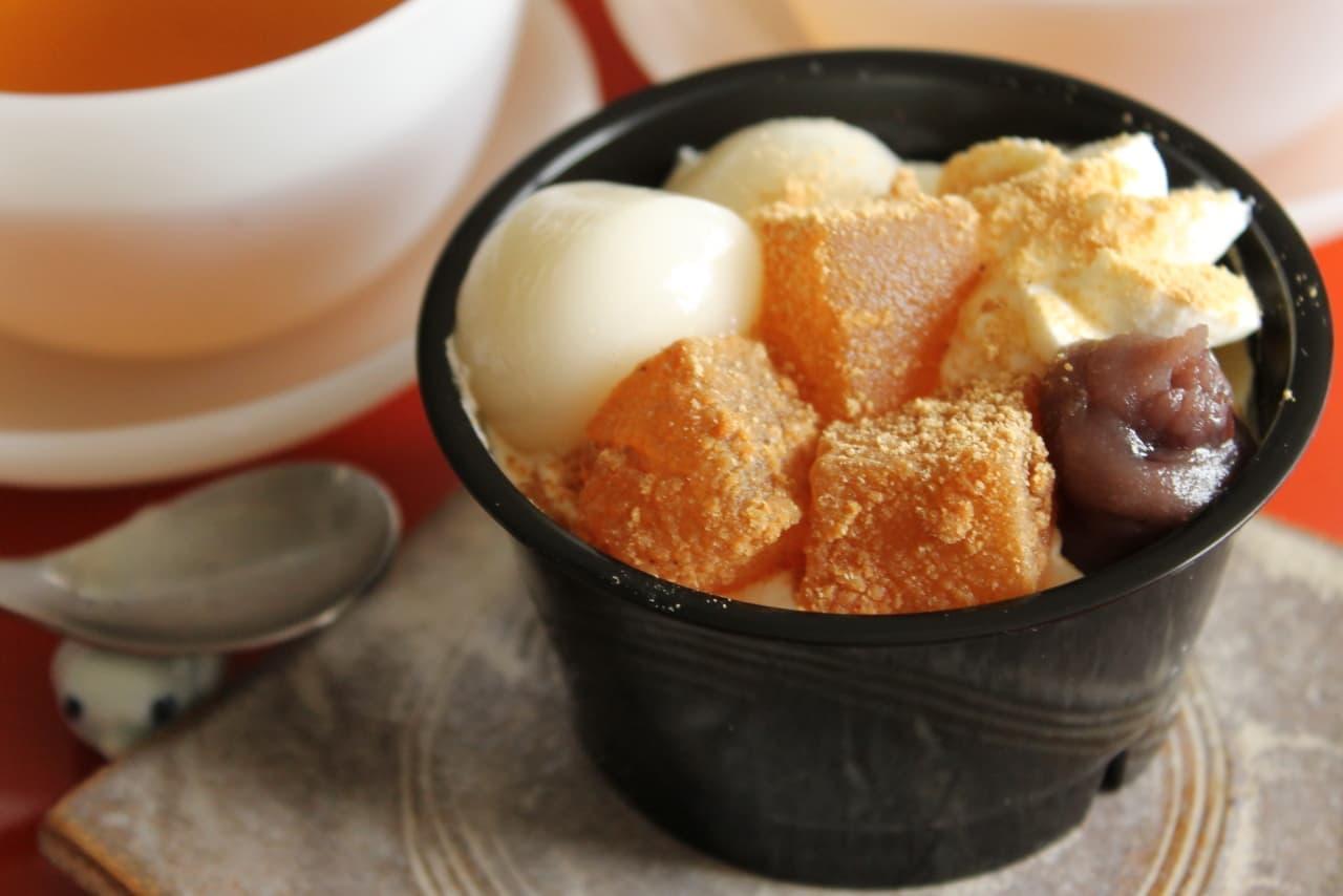 ファミマ「白玉とわらび餅のクリームぜんざい」