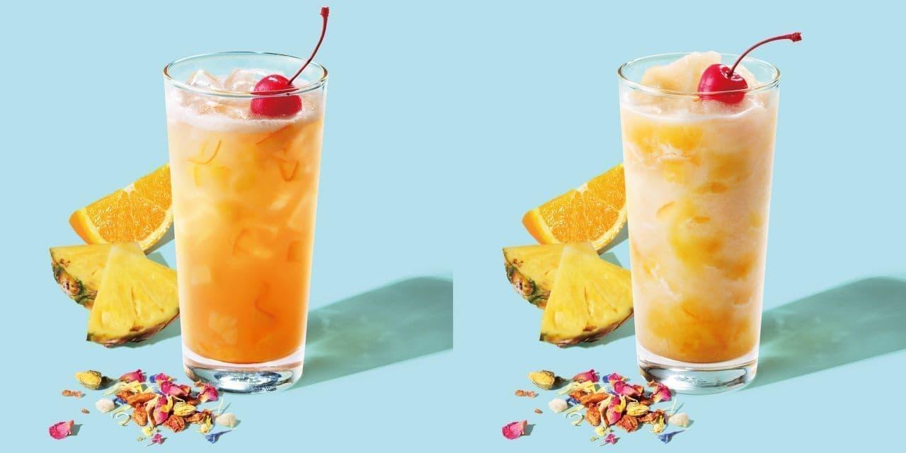 スターバックス「オレンジ&パイナップル コナ ポップ ティー/ティー フラペチーノ」