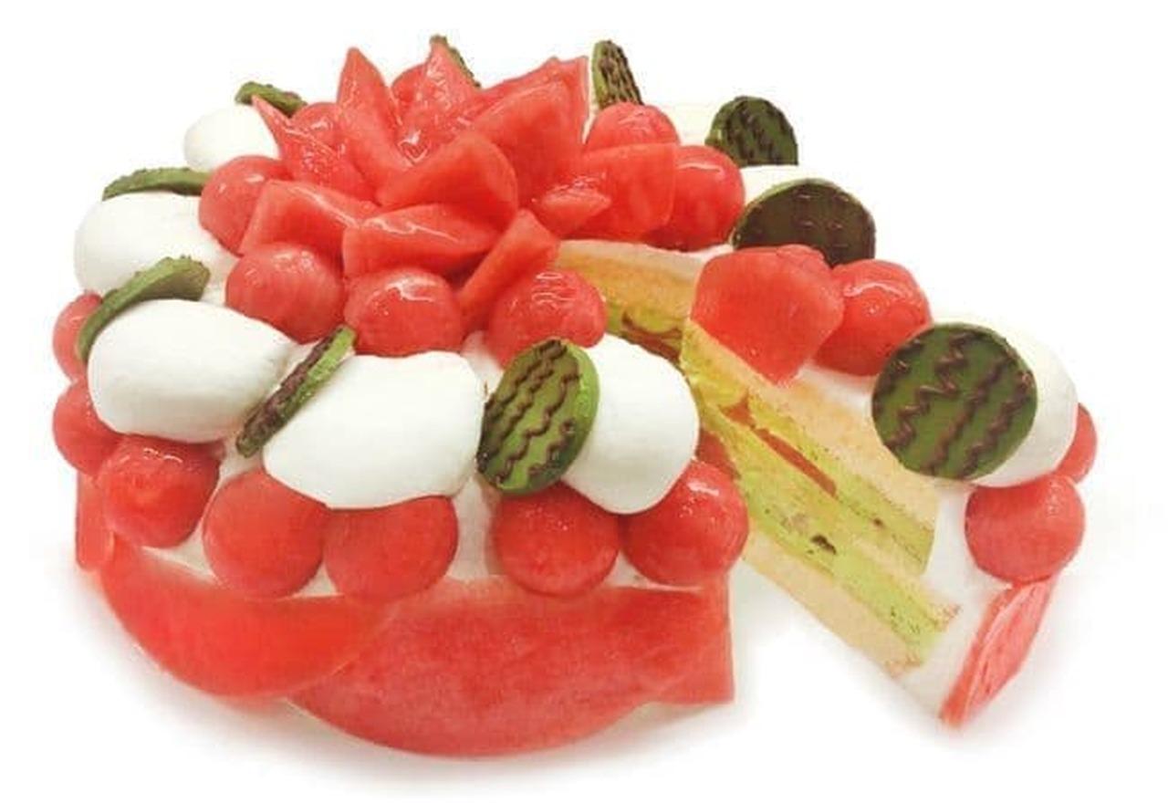 カフェコムサ「和歌山県産 小玉スイカ『ひとりじめ7』のショートケーキ」