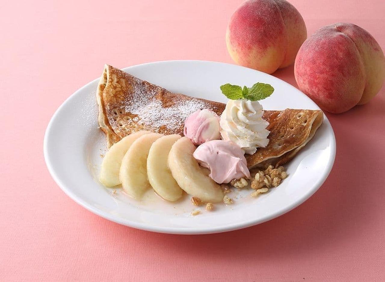 デニーズ「桃とチーズの自家製ガレット」