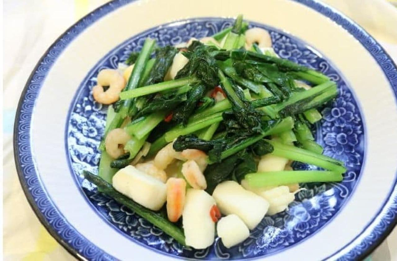 小松菜とシーフードのペペロン風