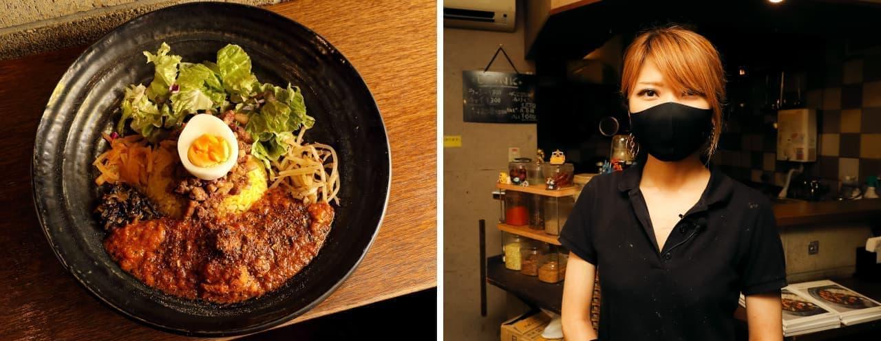 SPICY CURRY 魯珈の人気メニュー「ろかプレート」と、店主の齋藤絵里さん