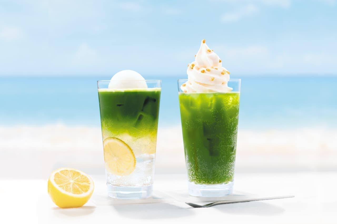 ナナズグリーンティー「抹茶レモンフロートソーダ」「玄米抹茶ソフトクリームソーダ」