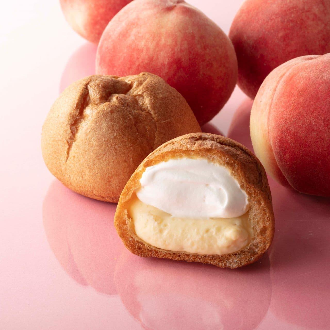 シャトレーゼ「山梨県産白桃ダブルシュークリーム」