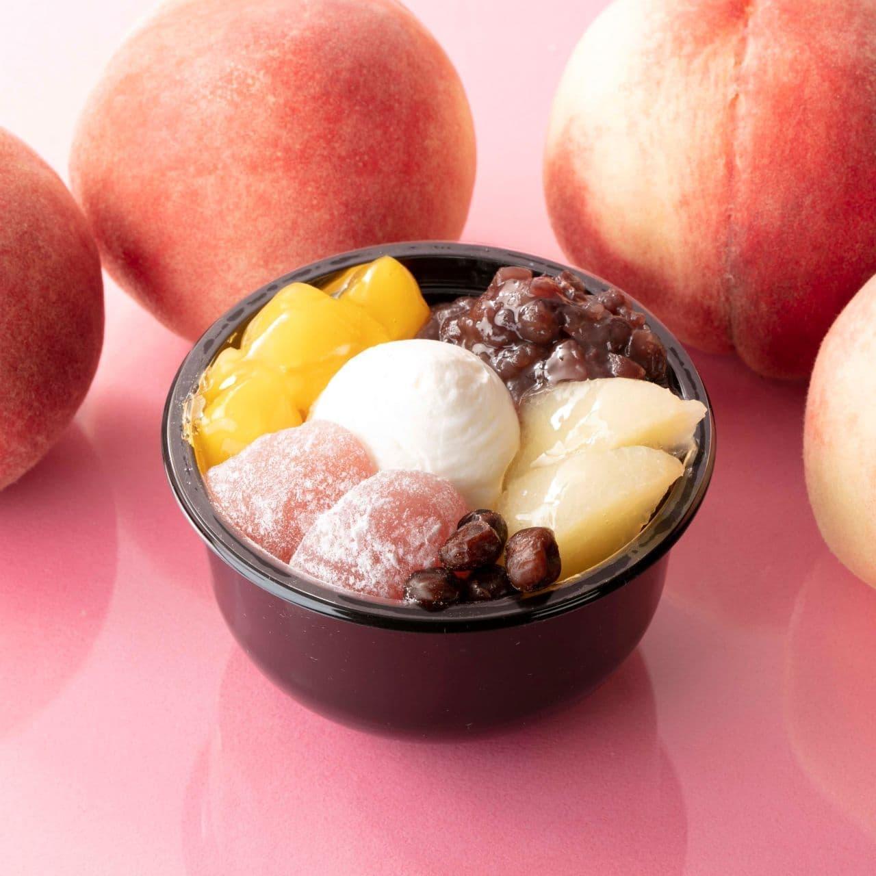 シャトレーゼ「白桃クリームあんみつ わらび餅入り」