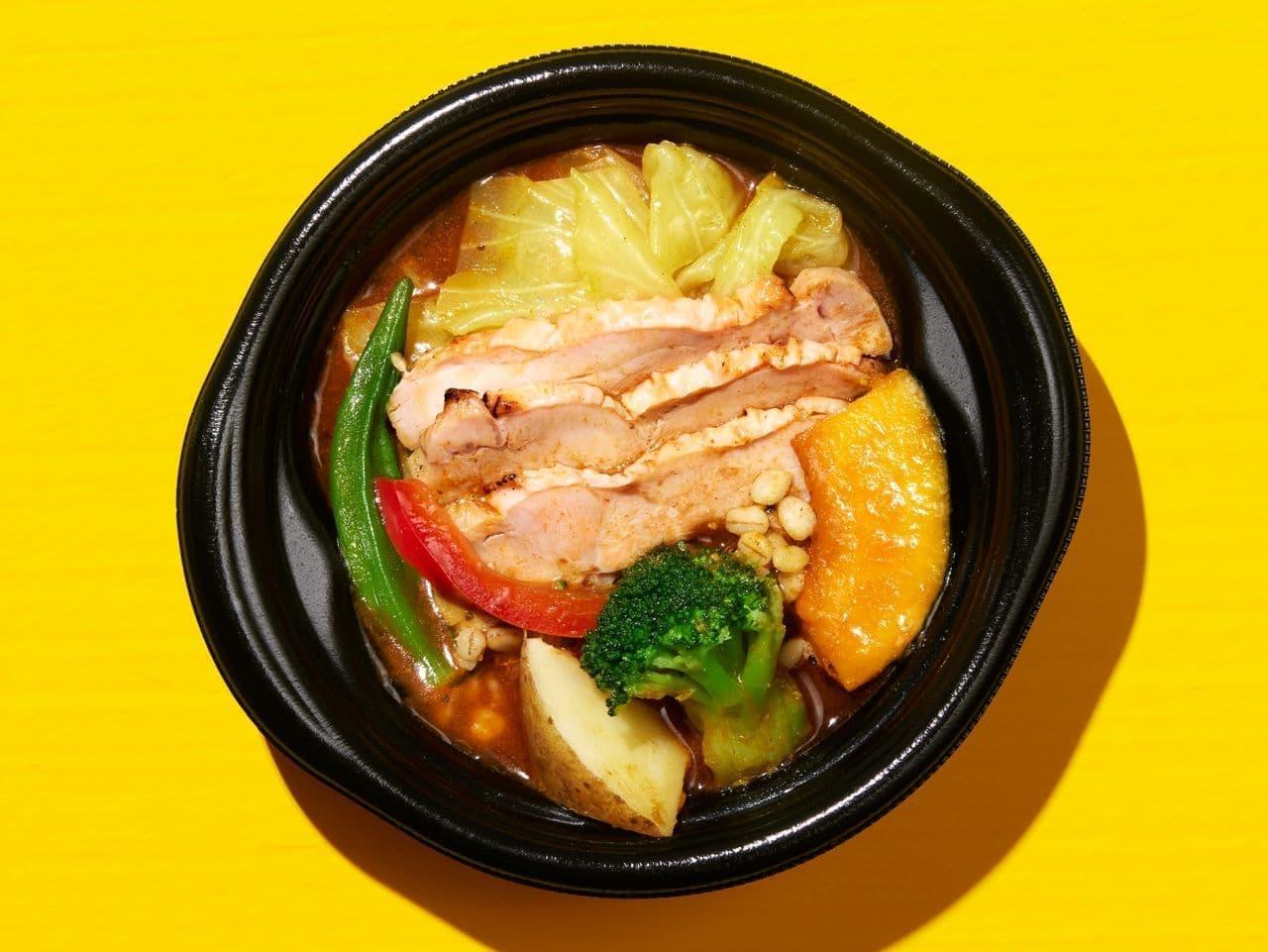ファミリーマート「グリルチキンと7種野菜のスープカレー押麦入」