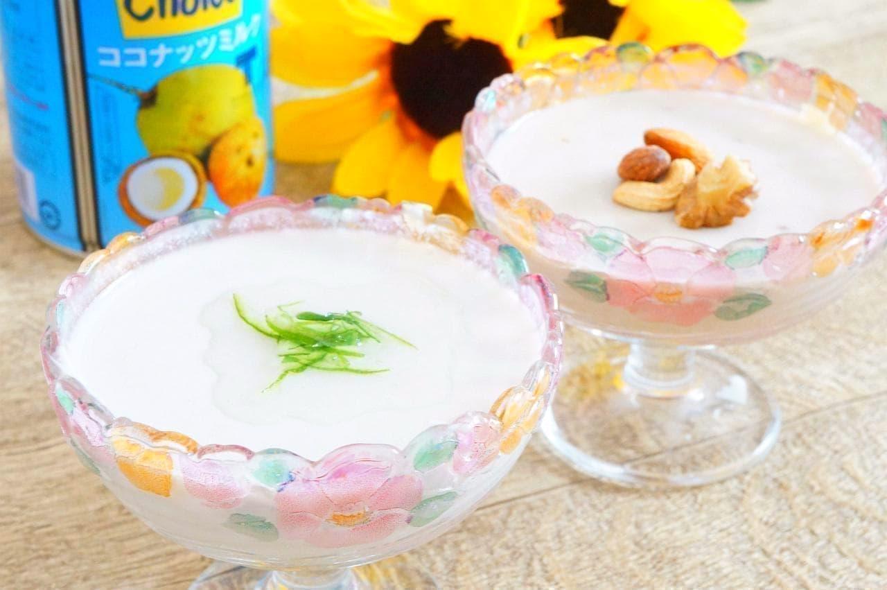 """Soy milk and coconut milk panna cotta"" recipe"