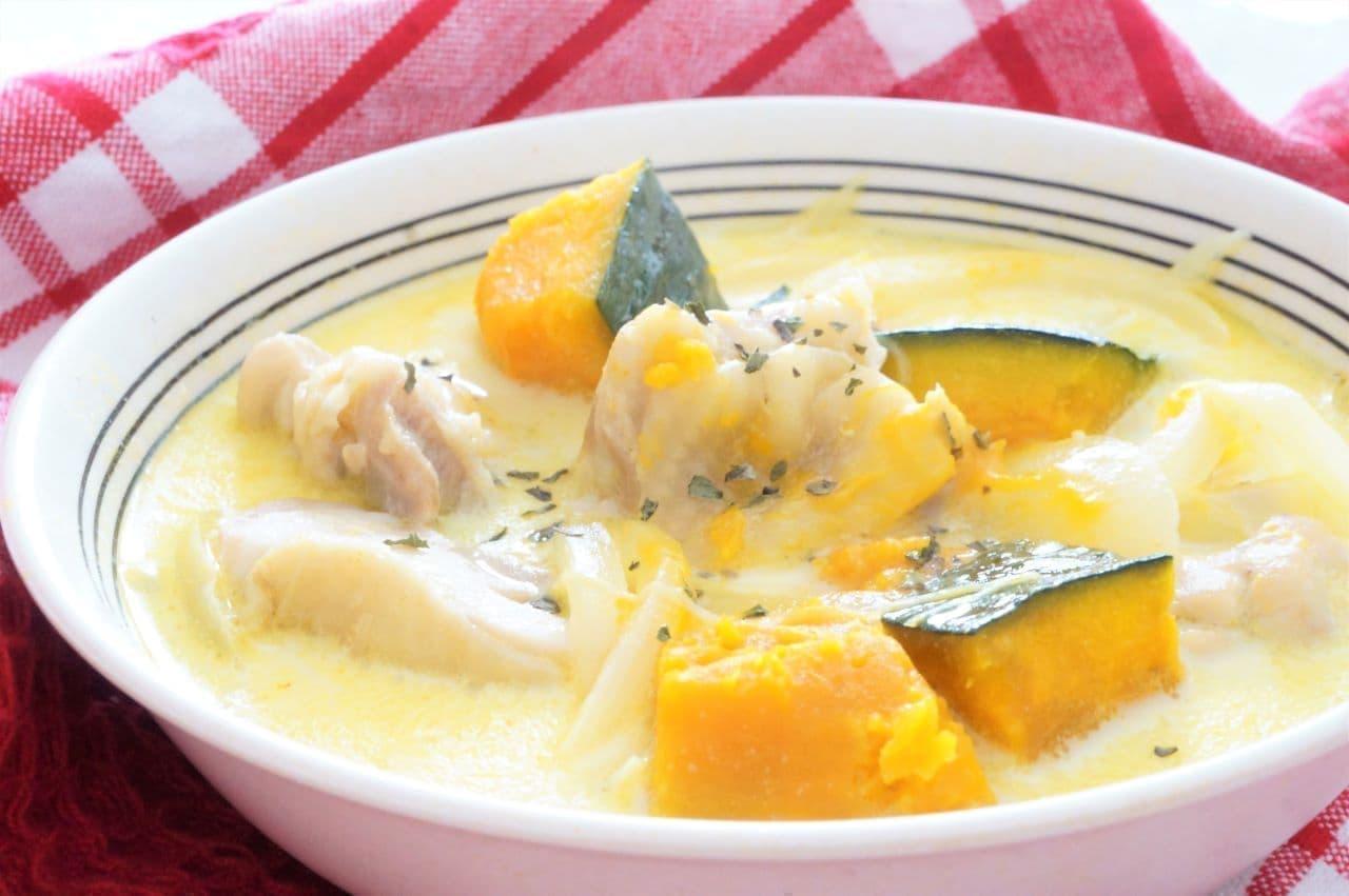 「鶏肉とかぼちゃの豆乳スープ」のレシピ