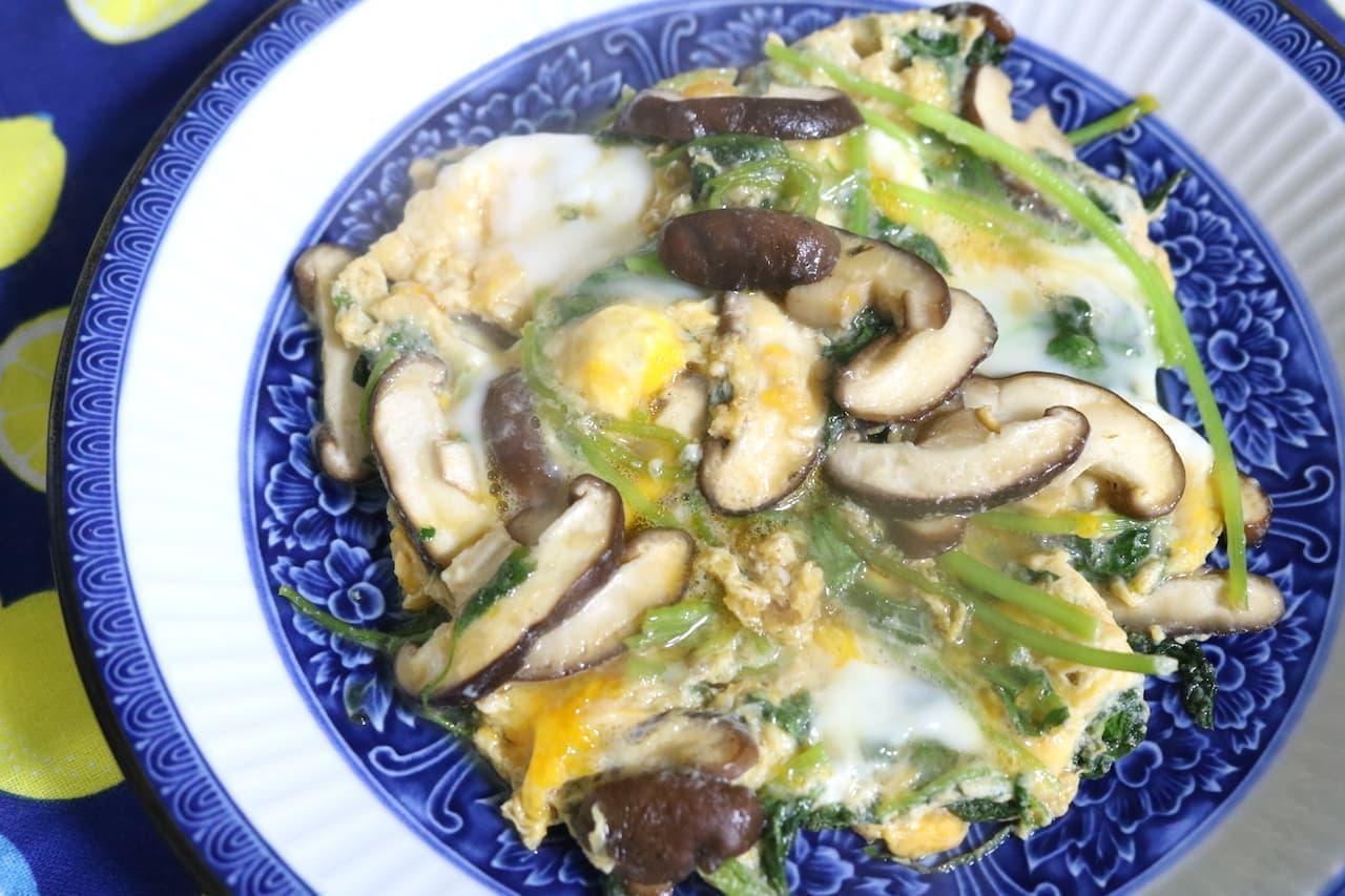 「三つ葉としいたけの卵とじ」のレシピ