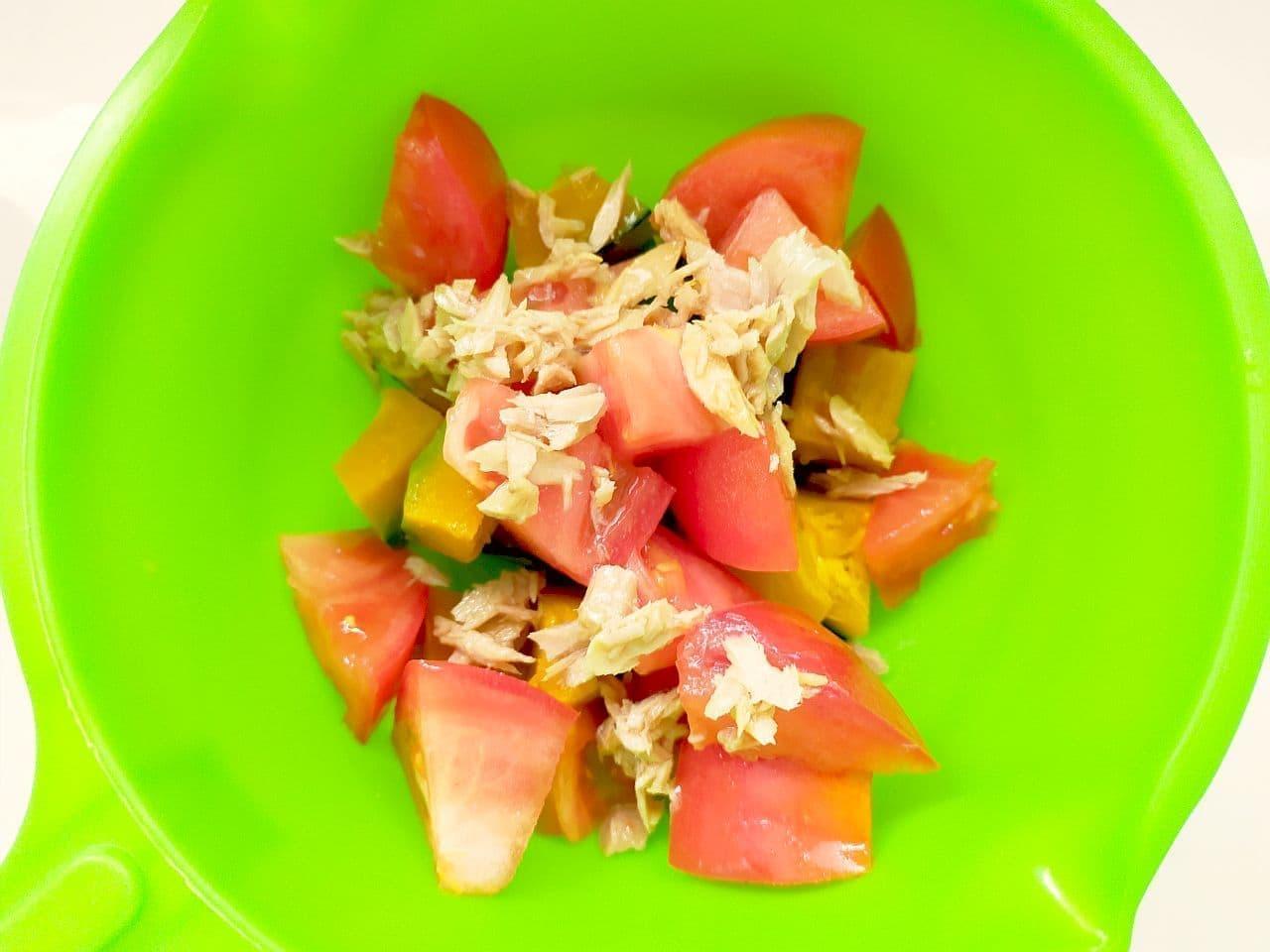 「トマトとかぼちゃのツナマヨサラダ」レシピ