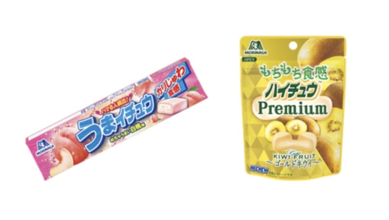 「うまイチュウ<白桃味>」もちもち食感「ハイチュウプレミアム<ゴールドキウイ>」森永製菓から
