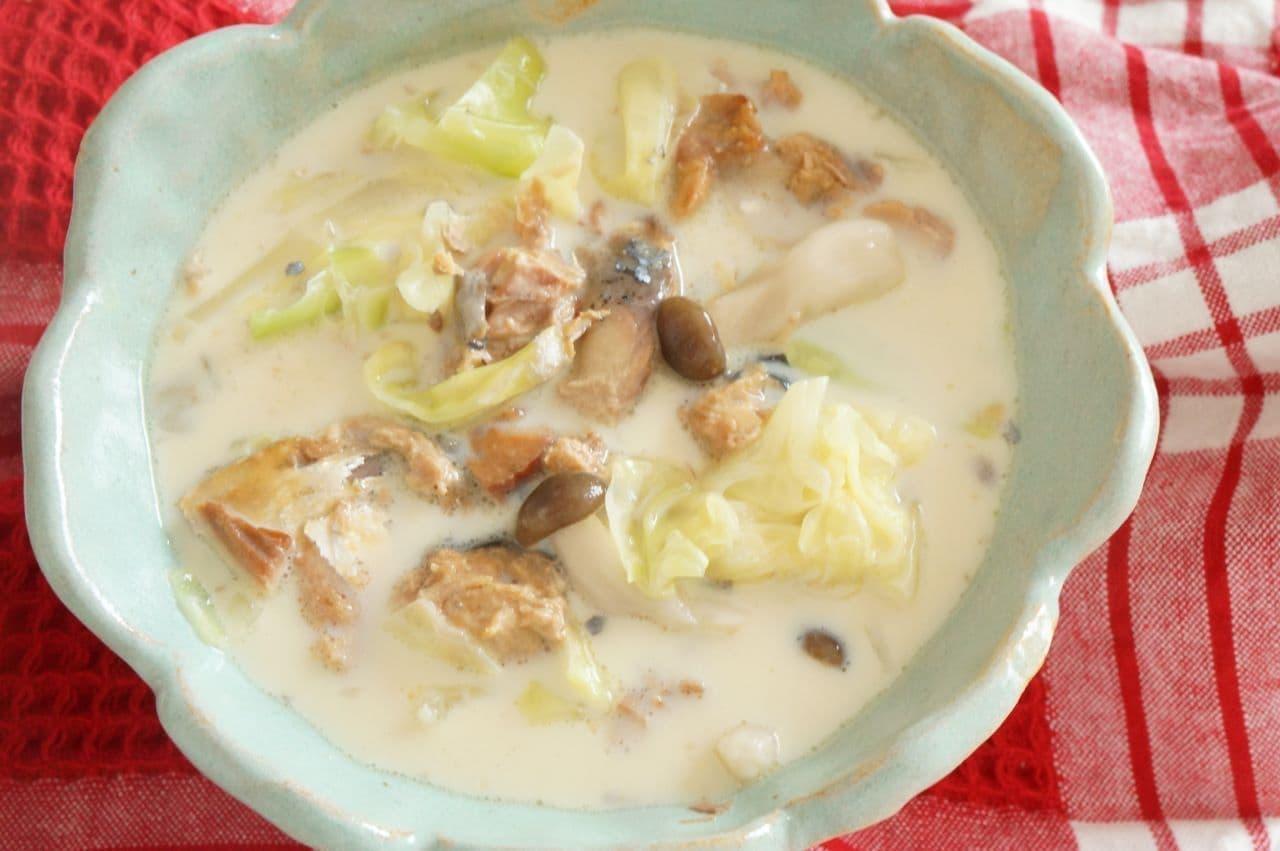 サバみそ缶豆乳スープ