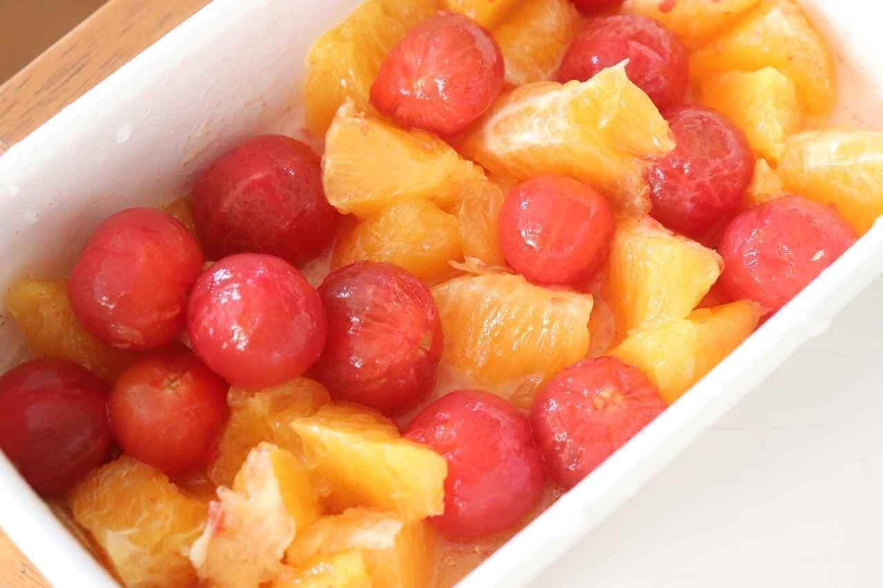 「ミニトマトとオレンジのマリネ」レシピ。