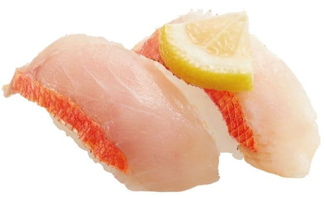 かっぱ寿司「国産 金目鯛食べ比べ(生・炙り)」