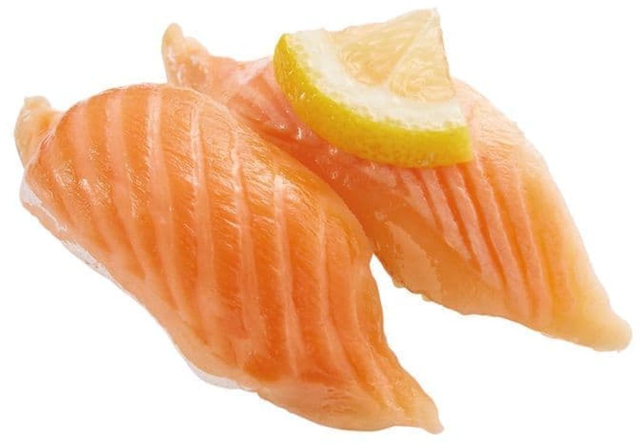 かっぱ寿司「大とろサーモン食べ比べ(生・炙り)」