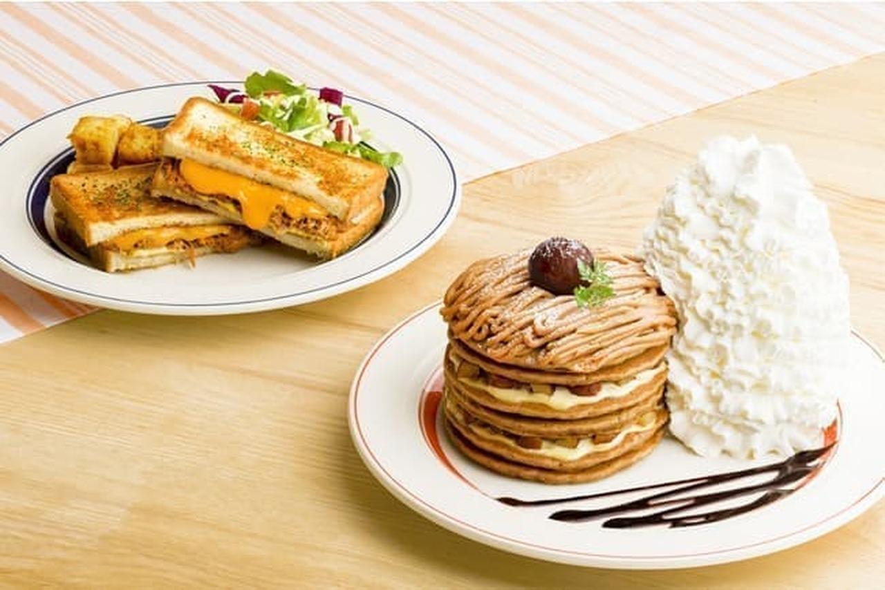 エッグスンシングス「コナコーヒーとモンブランのパンケーキ」と「カルアポークチーズサンド」