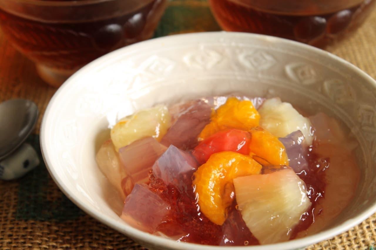 セブン-イレブンのゼリー「韓国風フルーツポンチ 花菜 ザクロ酢使用」