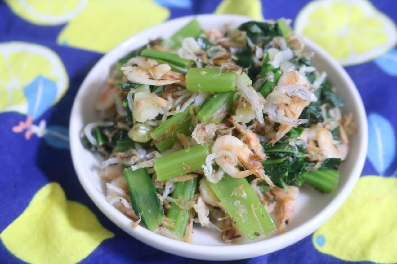 簡単レシピ「小松菜とじゃこ炒め」