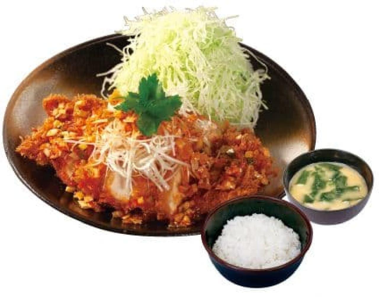 松のや・松乃家「白髪ねぎとキラキラ塩ダレのロースかつ定食」