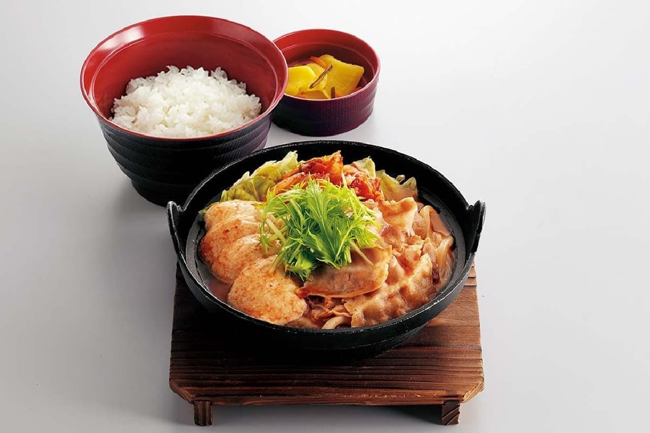 ジョイフル「すくい豆冨の味噌チゲ定食(うどん麺入り)」