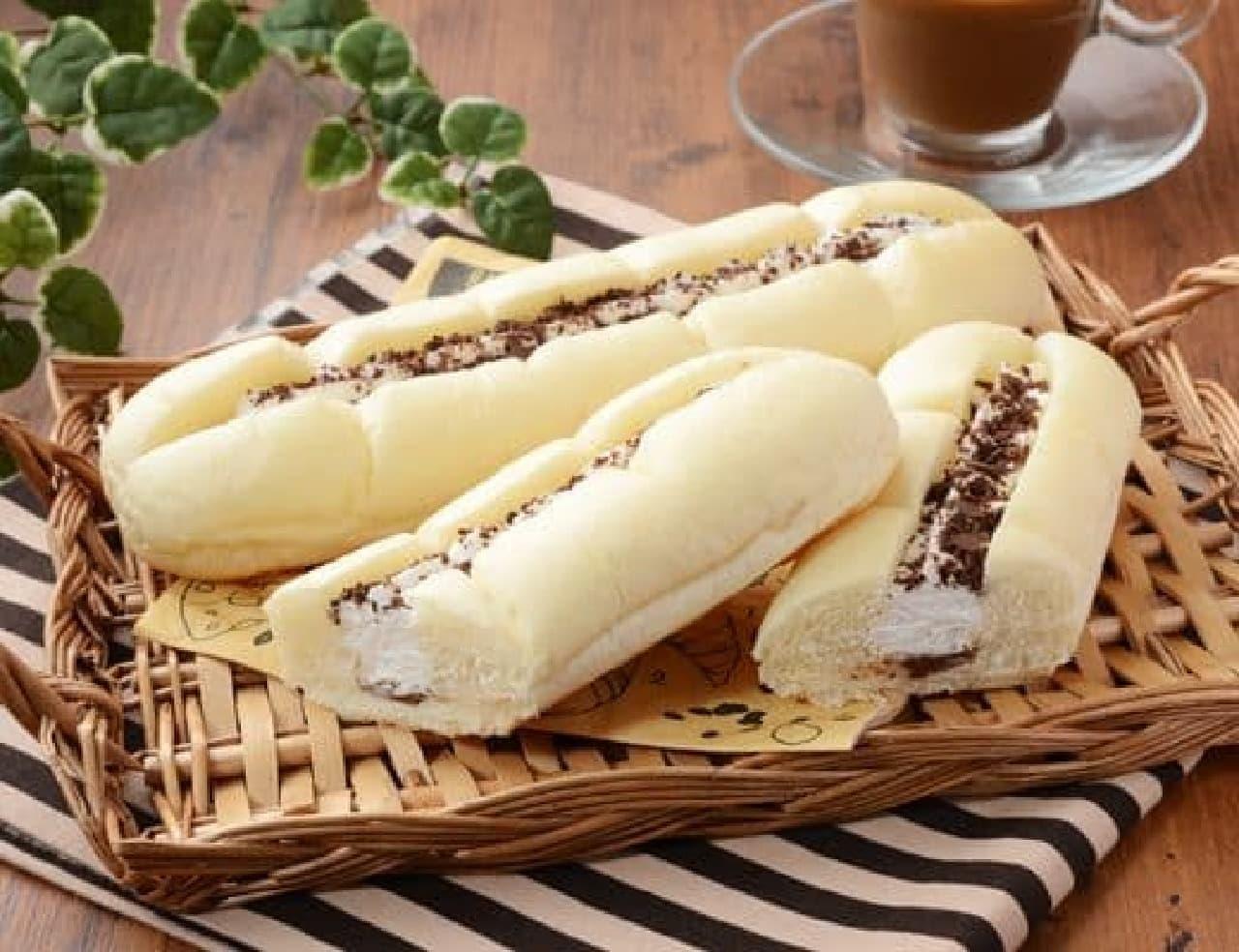 ローソン「白いふわふわパン ホイップ&チョコクリーム」